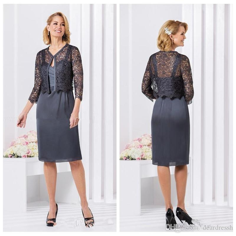 2019 Spaghetti Mother of the Bride Dresses with Lace Jacket Spaghetti Strap Ruched Knee Length Guest Dress Chiffon Short Bride's Mother Wear