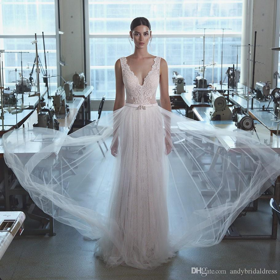 2019 Lihi Hod Bohemian Lace Wedding Dresses V Neck A Line Backless Beach Wedding Dress Sweep Train Tulle Boho Bridal Gowns