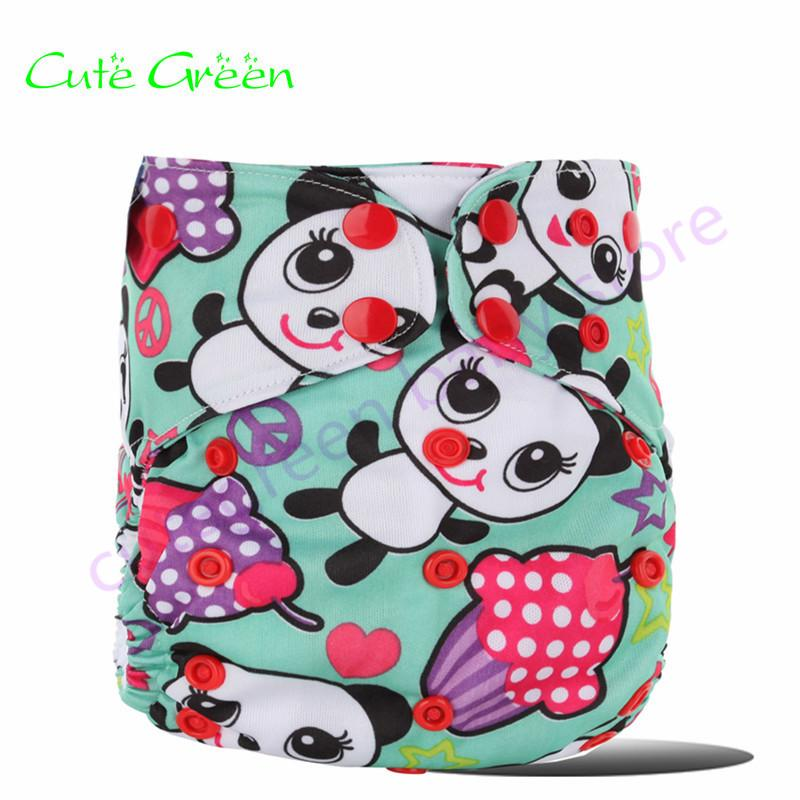 [Cute Green]Double Gusset OS Baby Cloth Diapers Reusable Baby Nappies Waterproof PUL Infant Diaper Cover Nappy Pant Nappies