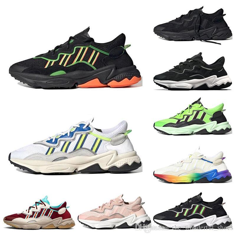 فخر 3M عاكس كره Ozweego الرجال الاحذية أحذية رياضية فاخرة نيون الخضراء الطاقة الشمسية الأصفر هالوين النغمات الأساسية الأسود إمرأة الأزرق المدربين