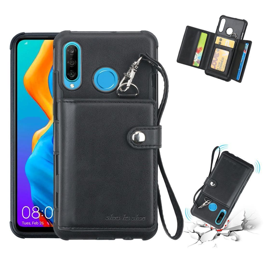 Kart Yuvaları Cüzdan Fotoğraf Çerçevesi Lanyard ile Huawei P30 Lite Darbeye PC + TPU Koruyucu Kılıf için