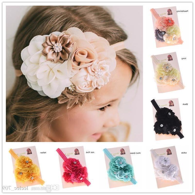 Wholesale- 1pcs Shabby Chic Headband Baby Hair Flowers Headbands Newborn Baby Hair Bows Hair Accessories Bows Photo Prop