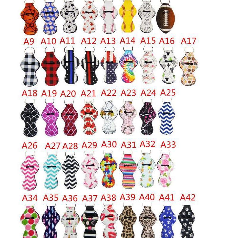 Free DHL Neoprene Chapstick Holder Keyrings Handy Lip Balm Keychain Pouch Lipstick Keychains Novelty Xmas Gift (Random Color Send)H350Q F