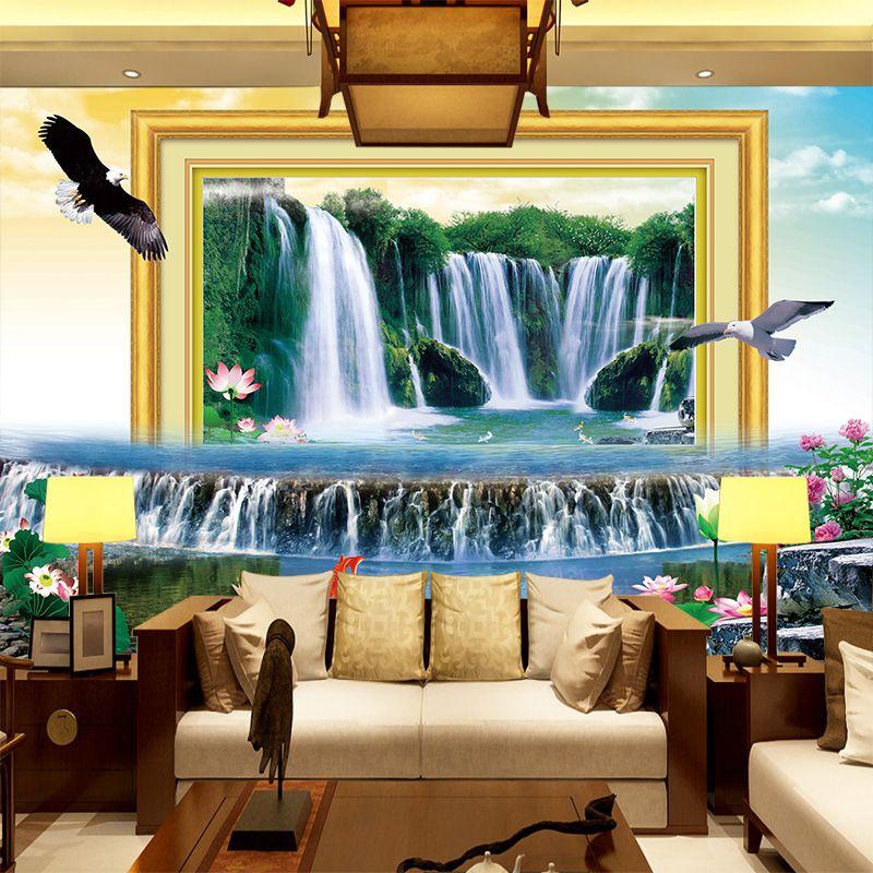 Wallpaper Murals 3d Wall Mural Wallpaper Home Decor Green Mountain Waterfall Nature Landscape Home Improvement