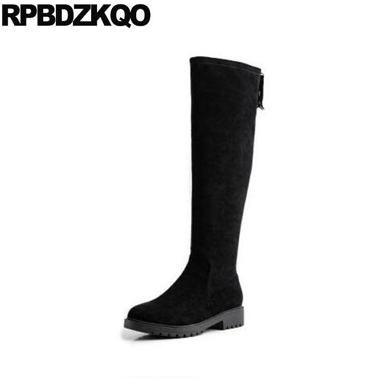 las mujeres grueso botas de cremallera lado del bloque, además de zapatos de gamuza tamaño largo atractivo de grandes ocasionales 10 negro otoño caída tramo delgado de rodilla alta 34 altos