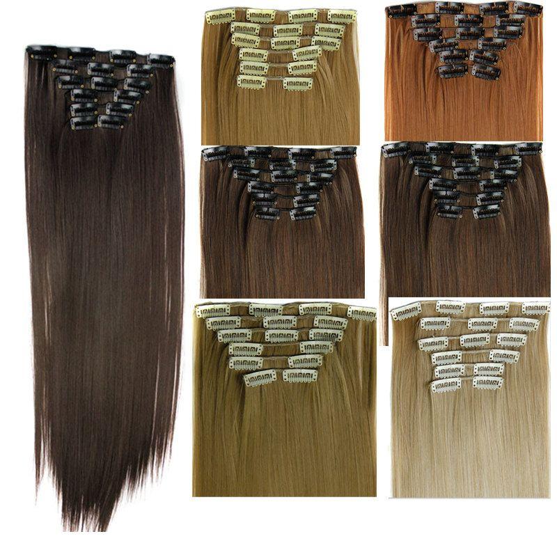 6pcs / set clipe sintético em extensões do cabelo reta 24inch 140g clipe sintético em extensões de cabelo mais cores