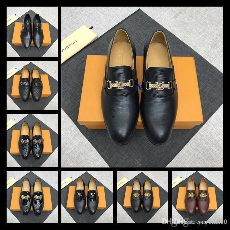 A9 52 modelo de vestir Lbrands Ace Zapatos Negro Gamuza marrón ocasionales de cuero de los holgazanes de los hombres deslizan en los zapatos Oxford señaló con la caja