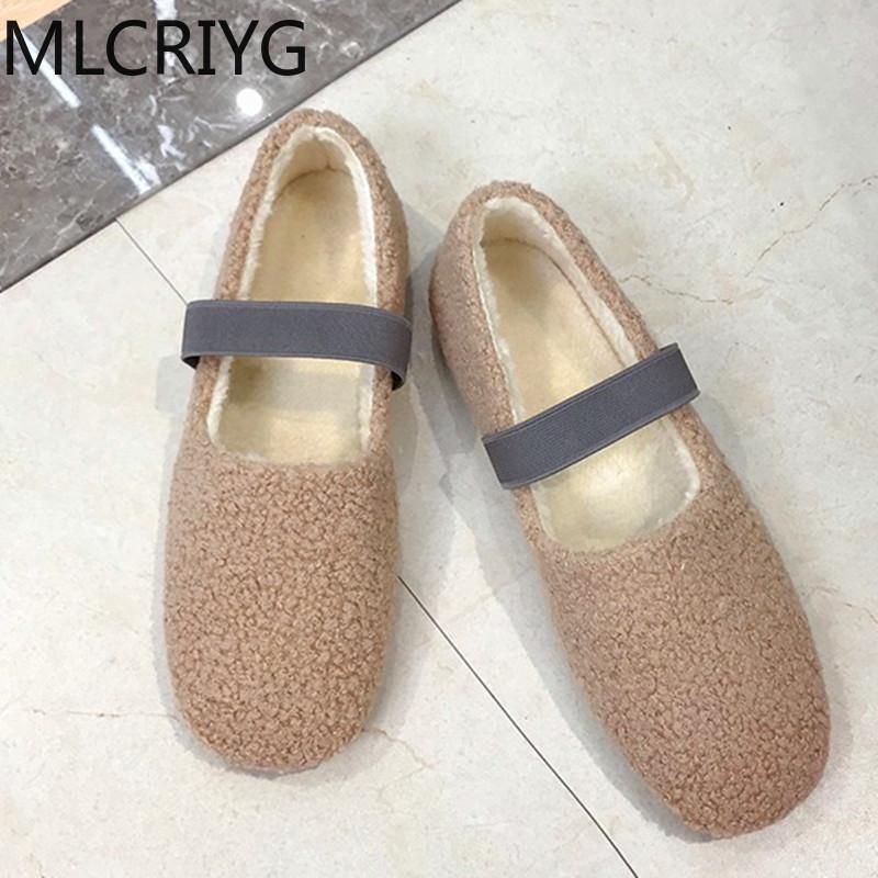 Kadın tek ayakkabı shaggy düz ayakkabı 2020 Lok Fu rahat bayanlar kadınlar flats Bayan flats için
