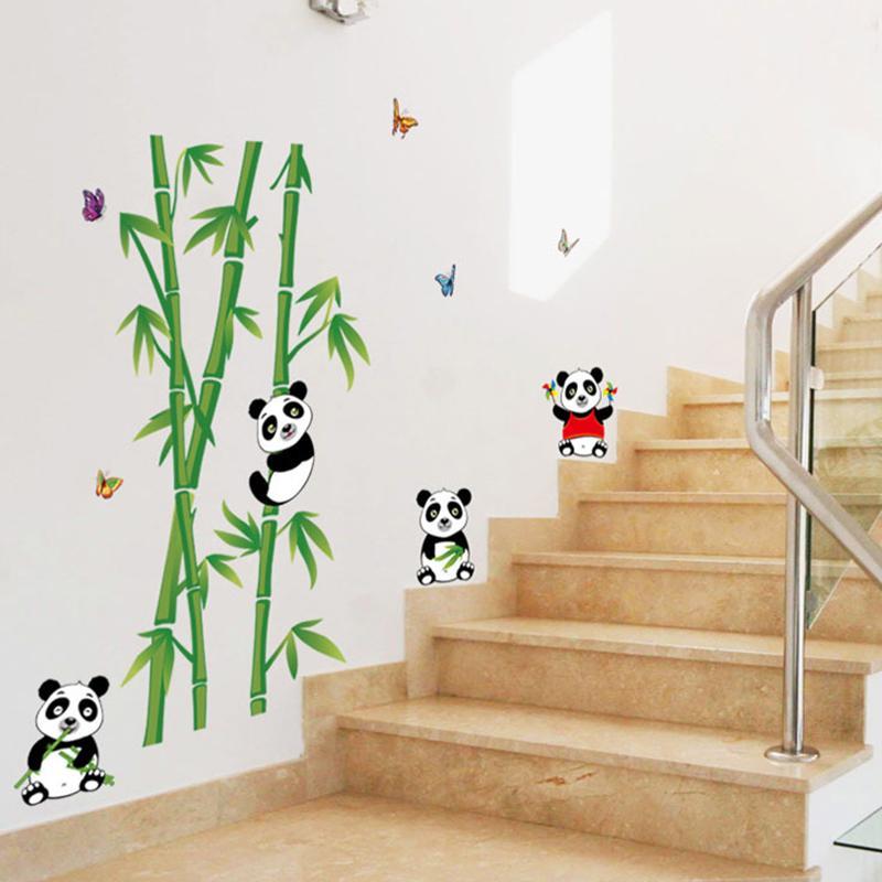 New Cartoon Panda Eats Bamboo Wall Sticker For Kids Rooms Wallpaper Home Decor Living Room TV Sofa Wall Poster PVC DIY Art Mural