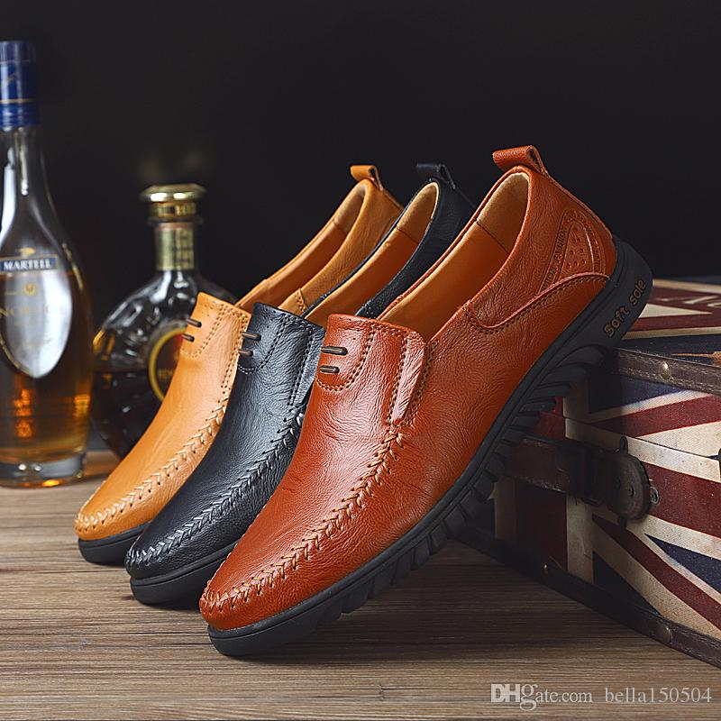 24 styls couro genuíno Designer Luxo calçados casuais lace-up ou Deslizamento-na dos homens terno vestido sapato Shoes Zapatos Hombre Drivers preguiçosos Sapatos