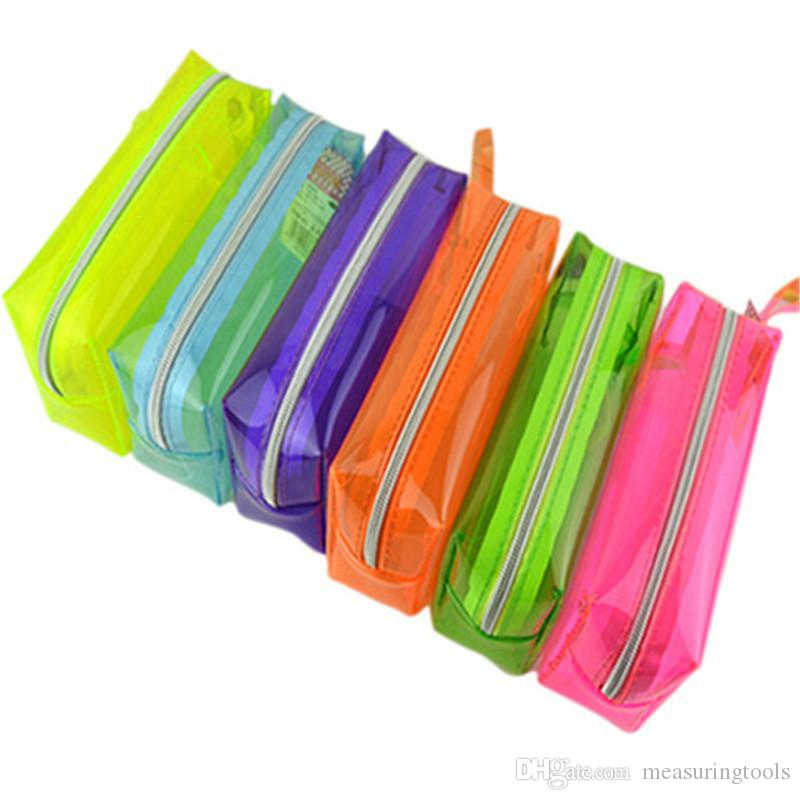 Creative large capacity candy color transparent pencil case male and female student stationery box stationery storage bag