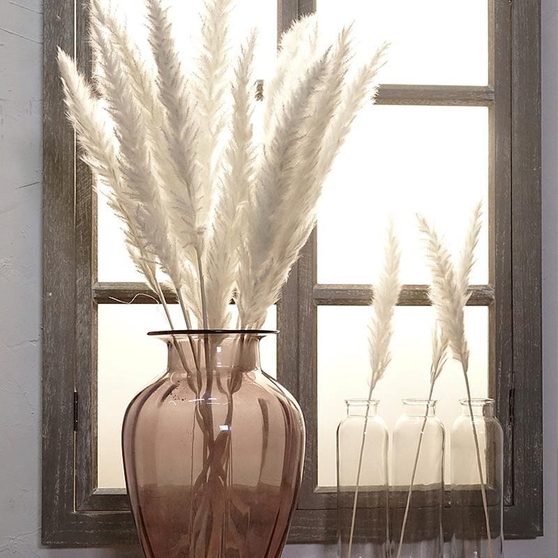 150pcs künstliche Blumen-Bouquet Bulrush Natürliche getrocknete kleine Pampasgras Phragmites Communis Hochzeit Blumen-Bündel für Hauptdekor 6 Farben