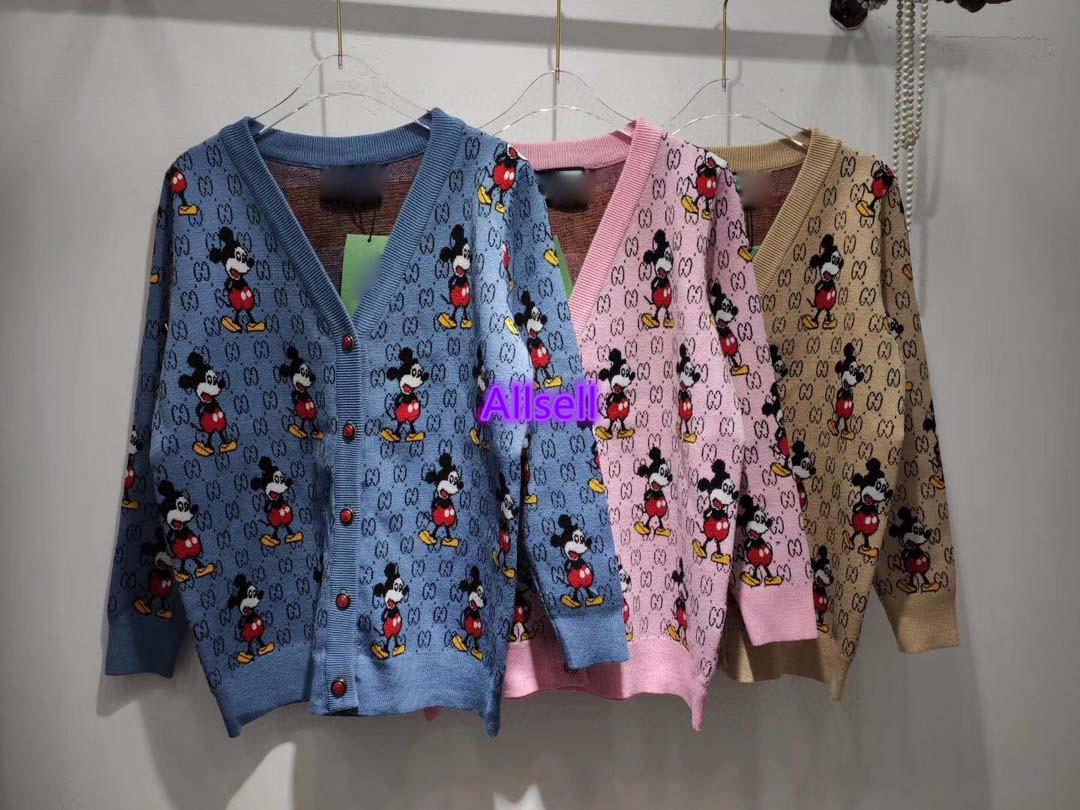 high end women girl knit sweater cartoon interlocking letter jacket cardigan single breasted v-neck long sleeve fashion design knitwear top