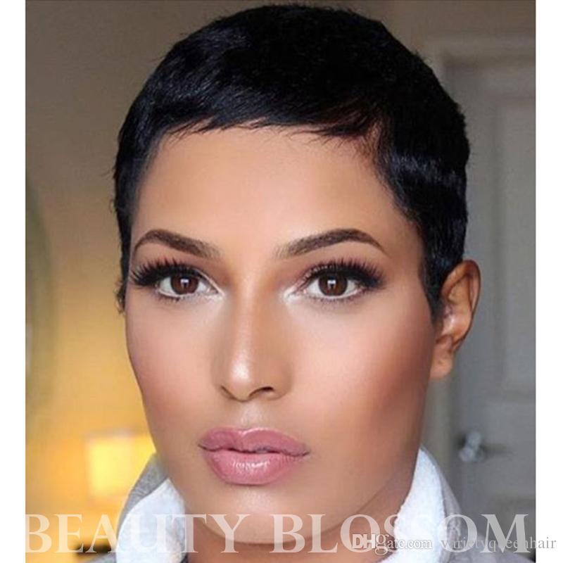 Máquina corta de corte Pixie fabricada ninguna peluca de encaje 100% cabello humano Pelo virgen peruano para mujer negra