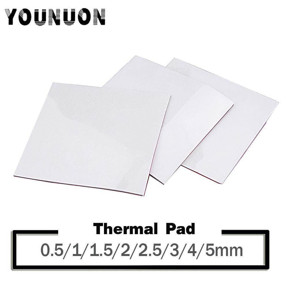 컴퓨터 오피스 YOUNUON 100 × 100 0.5 1 1.5 2 3 4mm 전도성 실리콘은 열 냉각 5mm tichkess 열 패드 CPU 히트 싱크 패드
