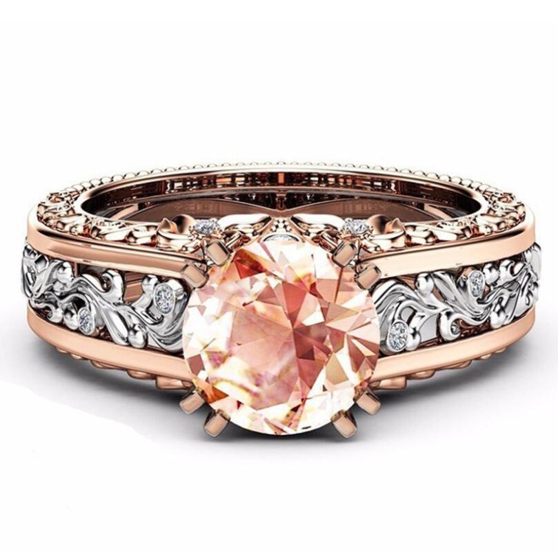 Anel de Amante Para As Mulheres Banhado A Ouro Clássico Simples Design Anéis Mulheres Anel de Festa de Casamento Amoroso Elegante