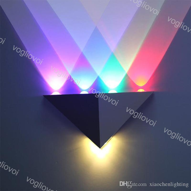 مصابيح الحائط الألومنيوم مثلث الصمام 5 واط AC90-265V الحديثة الإضاءة المنزل غرفة المعيشة حزب الكرة ديسكو ضوء dhl