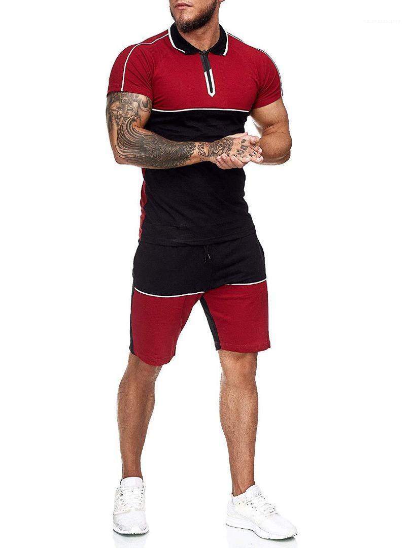 Цвет костюмы Цвет Щитовые Mens конструктора костюмы вскользь Slim с коротким рукавом из двух частей Шорты Комплекты мужские Contrast