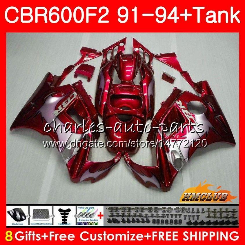 Honda CBR 600F2 CBR600FS CBR 600 FS F2 91 92 93 94 40HC.45 600cc CBR600 F2 CBR600F2 1991 1992 1993 1994 Redflames kaporta için Gövde + tank