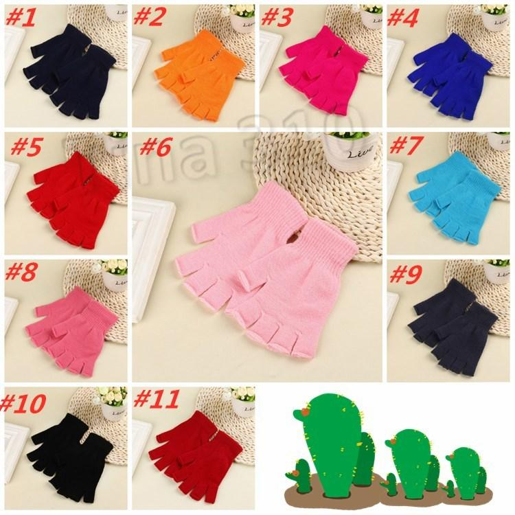 11 style Warm coloured student gloves creative Half Finger Gloves for men and women in winter child Gloves T2C5172