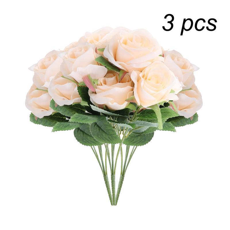 3pcs Simulation Flowers Silk Flowers Artificial 7 Heads Rose Bouquet for Home Bridal Wedding Party Festival Decor (Champagne)