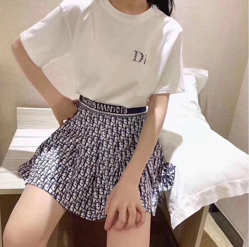 2020 kadın tişört + pileli etek yüksek kalitede moda kadın giyim 2 parçalı set kadınların yaz elbise