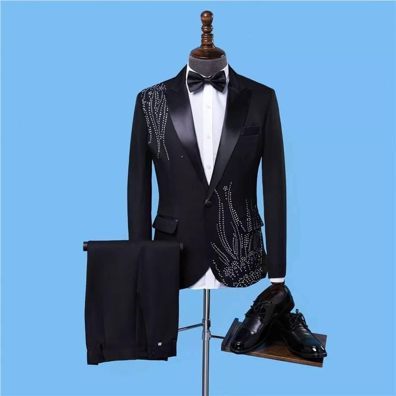 Men's Suits & Blazers TPSAADE Wedding Suit For Men Causal Beach Groom 2 Pieces Tuxedo Vestidos Quality Jacket With Silver Embellishme+Pants