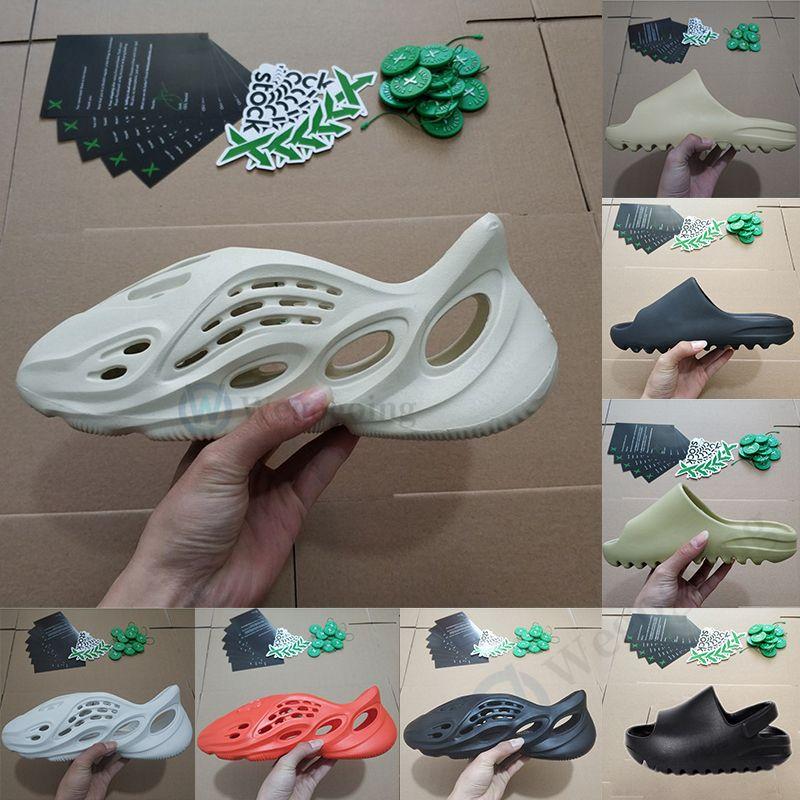 Adidas With Stock X 2020 New Hot Kanye West Slides Foam Runner Knochen Desert Sand Hausschuhe Mode Sandale Harz Herren Damen Kinder Kinder Strand Slipper Loafers Stock x Stockx