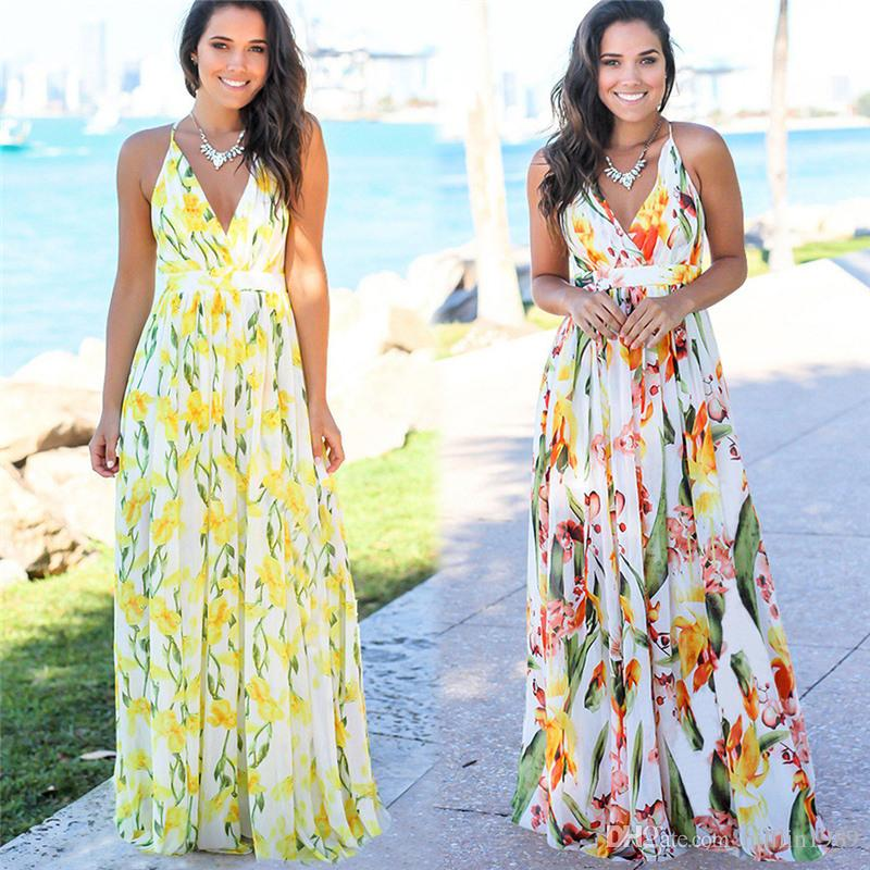 Summer Spaghetti Strap Maxi Dress Female Trendy Clothing 50% V-Neck Fashion Bohemian Dresses Summer Beach Floral Printed Party Dresses