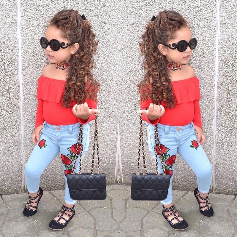 Neue Baby Mädchen Schulterfrei Samt Top + Jeans 2 stücke Set Oufit Kinder Mädchen Kleidung Kleinkind Mode Boutique Kostüm 1-6 T