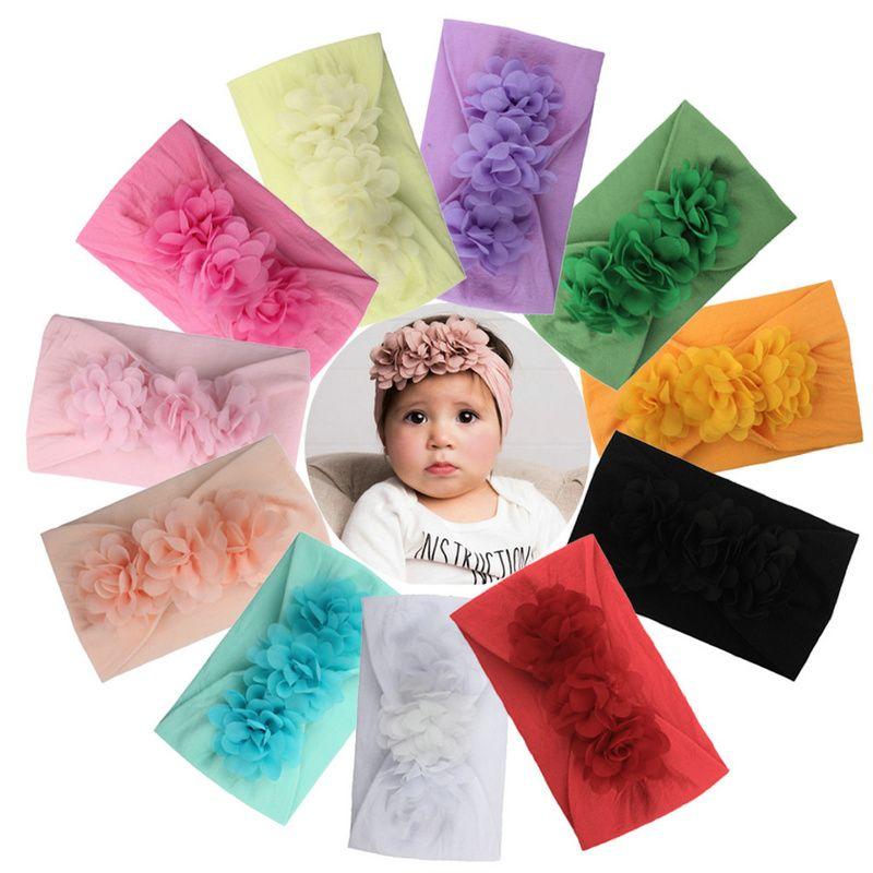 La niña de las vendas de gasa flannelett Bandas Flor niños, niño del arco Hairband de nylon grande elástico floral hermoso cabello Accesorios para el cabello