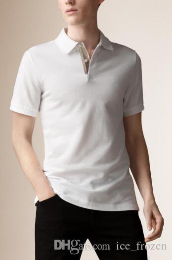 Londra Brit Polo da uomo a cavallo ricamo cotone manica corta T-Shirt uomo di sport Pullover di Golf Tennis formato S-2XL Top Nero Bianco