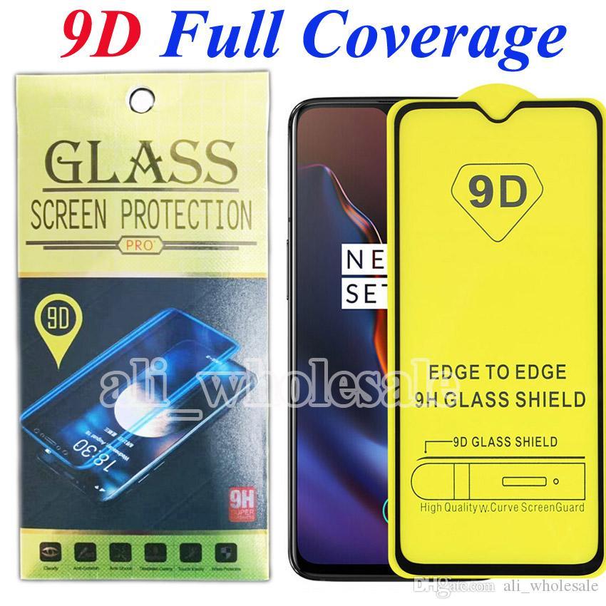Protector 9D completa Colla Goverage vetro temperato dello schermo per OnePlus 6T 6 7 7T 5 5T 3 3T Pixel 4 XL 3a Moto G7 E6 Stylo 5 LG V35 THINQ K40