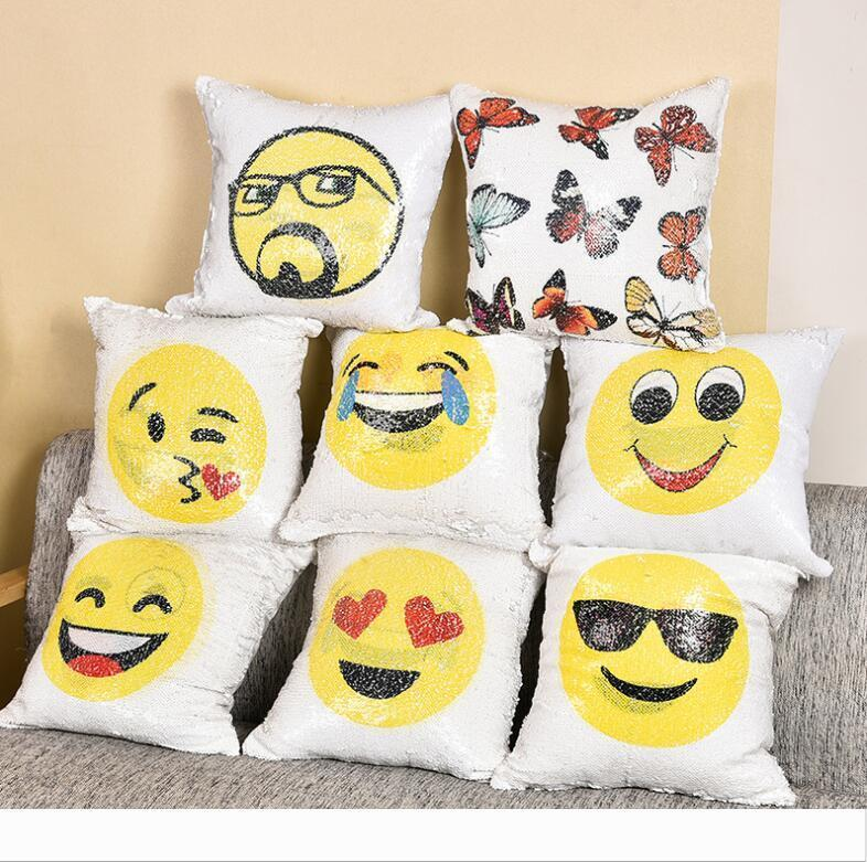 Emoji Yastık Kapak Pullu Yastık Kılıfı Çift 7779 Yastık Kapak Ev Dekorasyonu 8 Renk atmak Sofa İçin Yastık Dekoratif Yastık taraflı