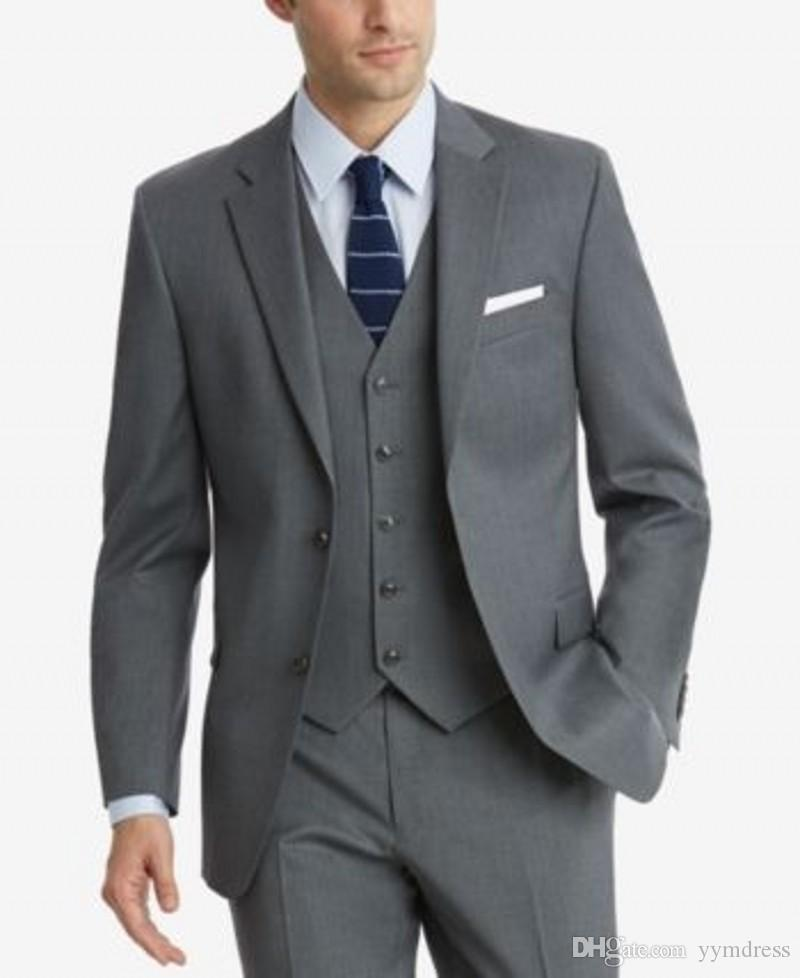 Gri Goorm Smokin İki Düğme Çentikli Yaka Erkek smokin damat düğün Dar Kesim tasarımcı bahar Üç Adet mens (Ceket + pantolon + Kravat))