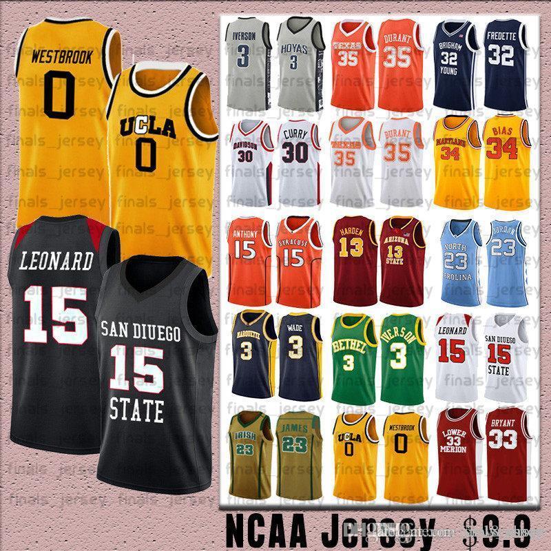 NCCA Jersey Kawhi Leonard James Iverson 23 LeBron Durant 13 Harden 30 Curry Stephen College Basketball Jerseys Russell Westbrook 0