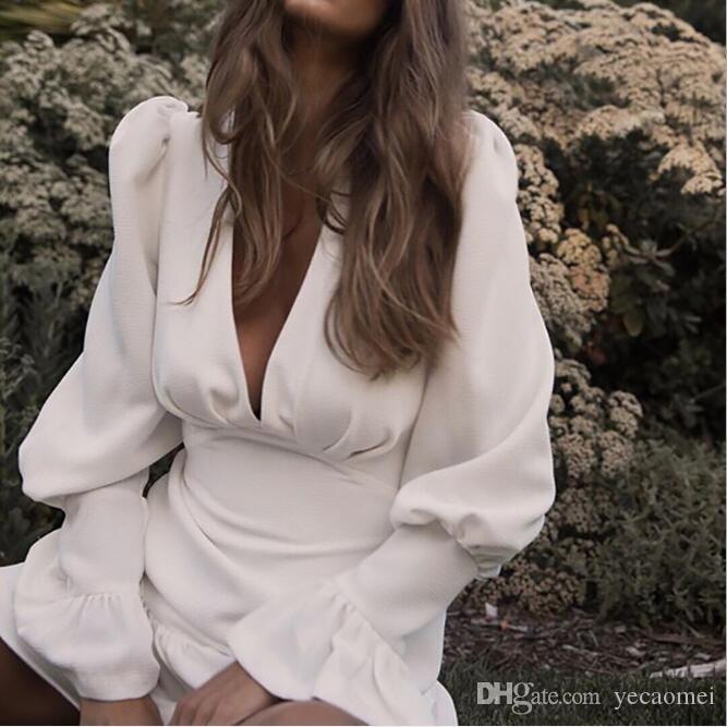 Elegante schlanke Frauen Kleid mit V-Ausschnitt Laterne Ärmel hohe Taille Rüschen Minikleider weiblich lässig Frühling 2019 neue Laufsteg Kleider