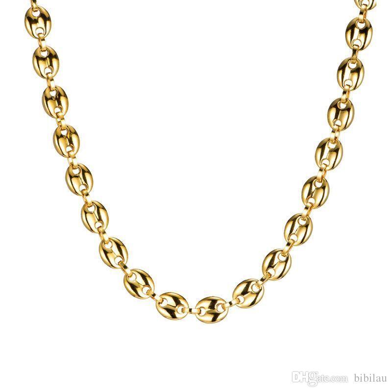(TN-0027) 316L Titanium Acier Heavy Long Long Beans Colliers 60 cm pour hommes Non Fade 18K Or / Blanc Couleur