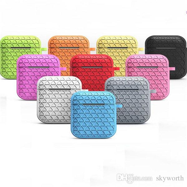 For Apple airpod Silicone Case Diamond Pouch With Anti-dust Plug key chain Shockproof Soft silicon cover for Bluetooth earphones Headset