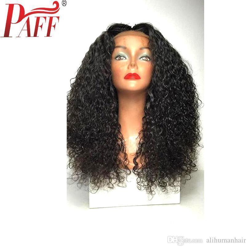 H en dentelle pleine perruque de cheveux humains Kinky Curly Brésilien Remy Lace Front perruque de cheveux humain naturel Couleur Pré plumé bébé cheveux