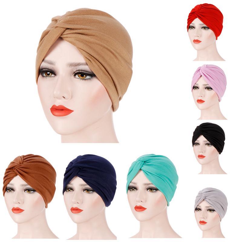 Musulmanes elástico de las mujeres de la Cruz de algodón turbante sombrero de Chemo del cáncer Cap Gorros Sombreros Turbante plateado para la pérdida del pelo Accesorios