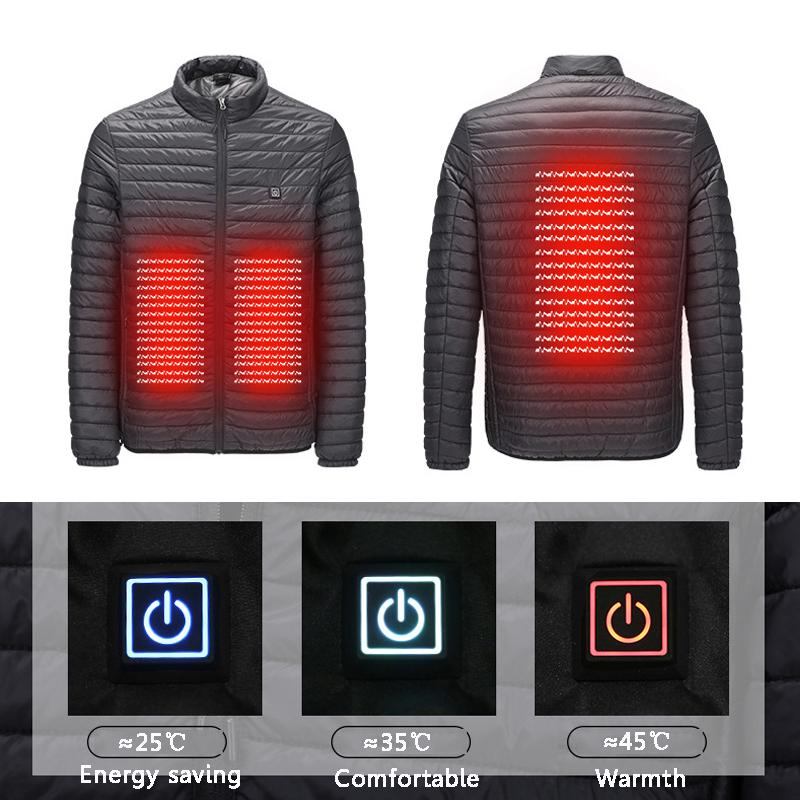 2018 New Infrared USB Heated Jacket Hunting Down Jacket Heating Winter Clothes Men Thermal Outdoor Electric Vest Hiking Climbing