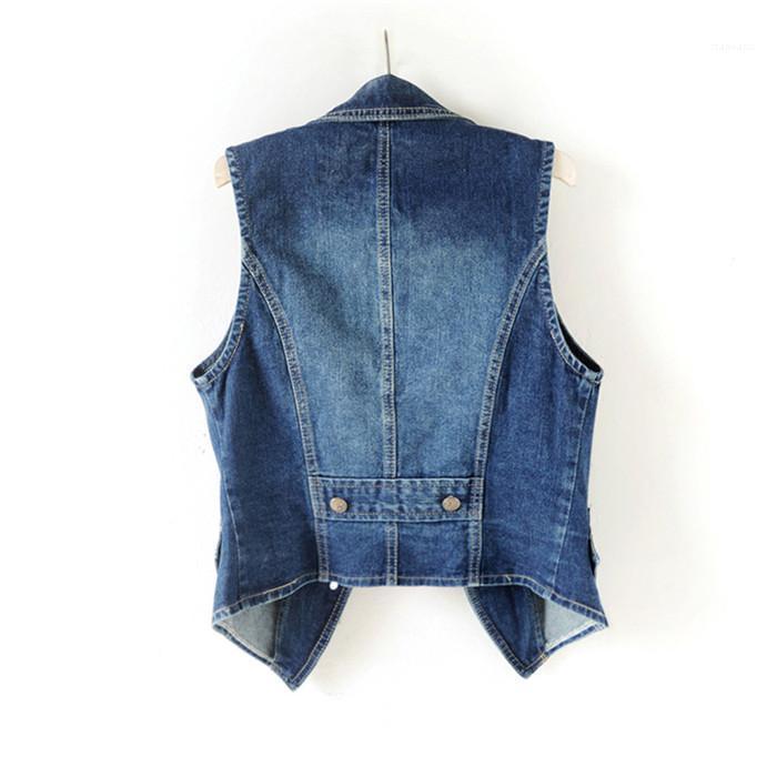 Casual color del chaleco para mujer primavera Diseñador Slim Fit collar corto sin mangas del chaleco del dril de algodón sólido de la manera