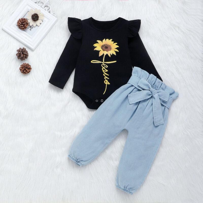 Automne Vêtements bébé nouveau-né Ensembles Vêtements enfants Vêtements de bébé fille de tournesol RomperBowknot Denim Pantalons Outfit Vêtements Set 024 mois