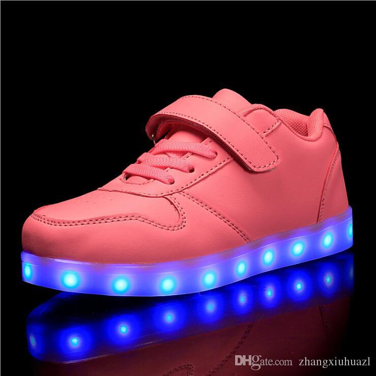 Kid Girls Light Up Bow Shoes Casual LED Flashing Trainers Sneakers Shoes Size UK