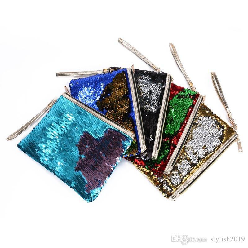 حقيبة جديدة الساخن بيع المغلف مخلب سستة حقيبة مستحضرات التجميل الأزياء حقيبة حورية البحر الترتر السيدات عملة محفظة WCW661