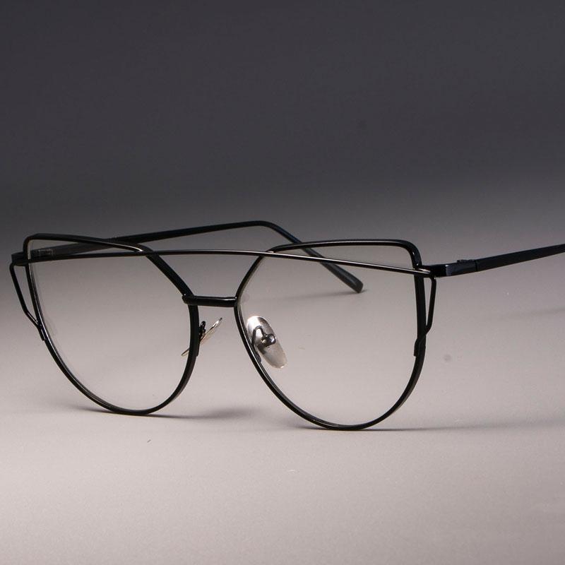 CCSPACE de alta calidad de metal marcos de los vidrios de las señoras del ojo de gato Eyewear para mujeres magníficas marca de diseño óptico de las lentes