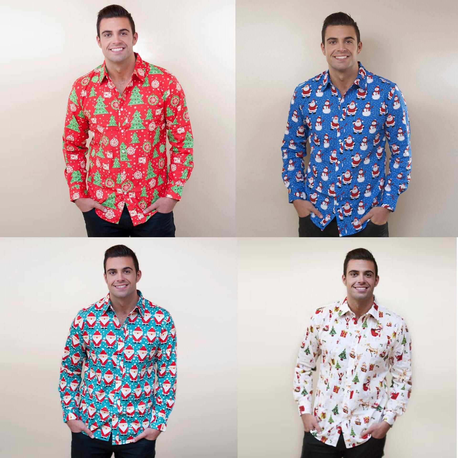Homens verão e moda casual Outono de mangas compridas blusa animados do Natal impressão estudante lapela pescoço camisa single-breasted