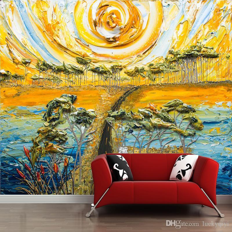 Europäische 3d wallpaper handbemalte Blumen Wohnzimmer Sofa TV Hintergrund Tapete einfache dreidimensionale Blume benutzerdefinierte Wandbild