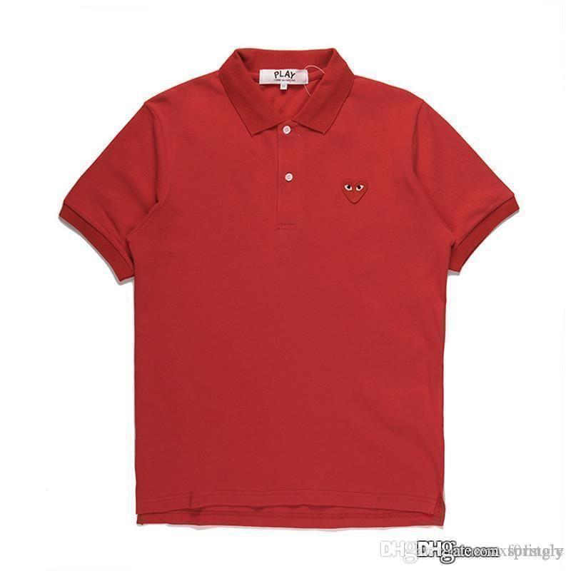 2018 Nouvelle mode COM en gros Nouvelle Meilleure Qualité Rouge coeur rouge DES GARCONS JOUER Noir Polo T-Shirt Made In Japan Junya Homme